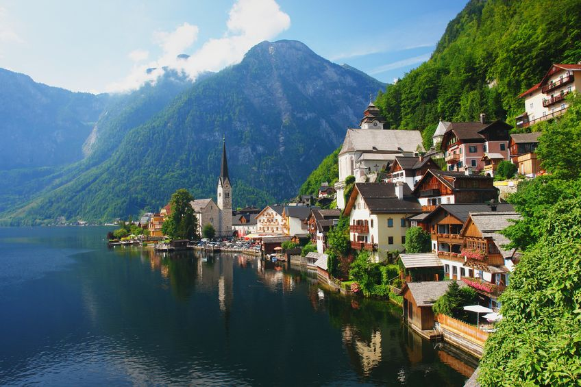 29106791 - view of the hallstatt from lake hallstater see, austria