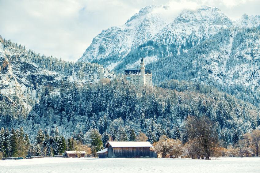 beautiful view on neuschwanstein castle in snowy forest